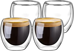 Double Walled Glasses for Espresso Coffee Turkish Tea, Espresso Coffee Cups 80 ml Set of 4