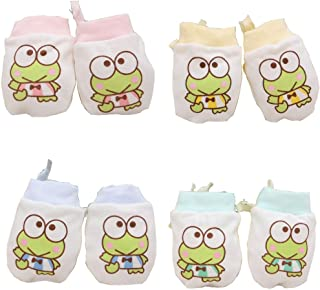 Lucky staryuan 4Pack Cotton Infant No Scratch Gloves Drawstring Adjustable (Frog)