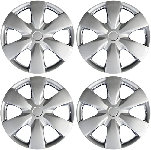wholesale 15 new arrival inch Hubcaps Compatible with 04-20 Toyota Yaris - (Set of 2021 4) Wheel Covers 15in Hub Caps Silver Rim Cover - Car Accessories for 15 inch Wheels - Snap On Hubcap, Auto Tire Replacement Exterior Cap outlet online sale