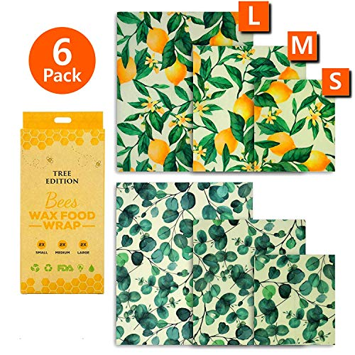 Beeswax Food Wraps, Pack of 6 Eucalyptus and Lemon Tree Printed Beeswax Wraps in 3 Sizes, All-Natural and Reusable Food Wraps, Eco-Friendly, Sustainable, Fresh Design Beeswax Wrappings.