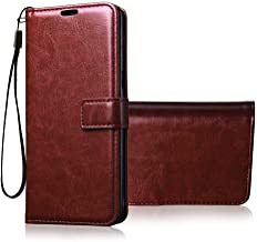 Tingtong Vintage Leather Flip Cover Case for Samsung Galaxy J7 Prime | Inner TPU | Foldable Stand | Wallet Card Slots - Chestnut Brown