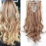 S-noilite Set 8pcs 60cm extension capelli clip nelle estensioni dei capelli della parte dei capelli ondulato o liscio pieno Testa vari colori Marrone chiaro e cenere bionda