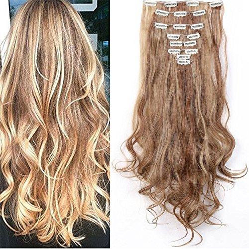 S-noilite 24  (60 cm) extensiones de cabello cabeza completa clip en extensiones de pelo Ombre ondulado rizado - Marrón claro & ceniza rubia