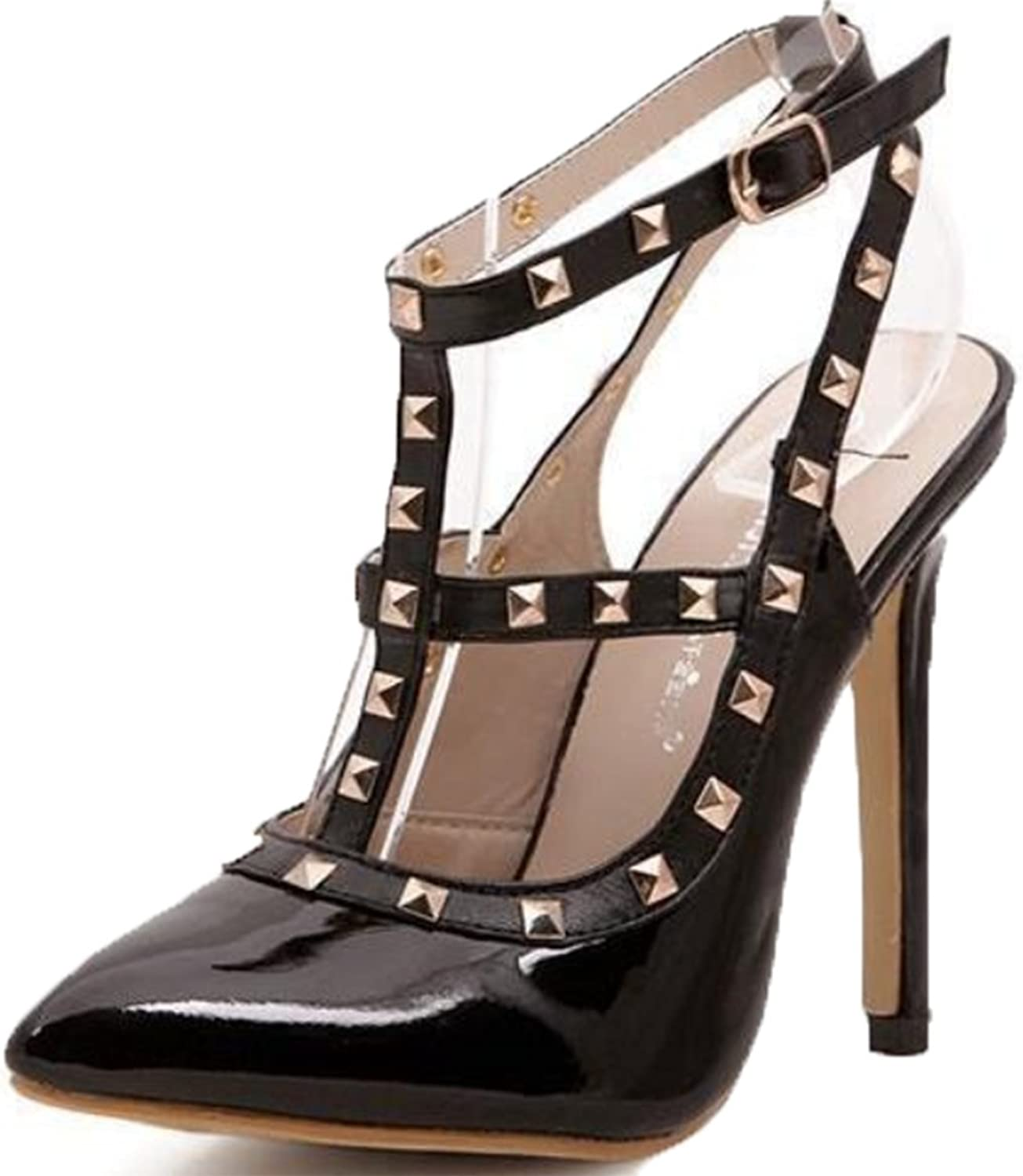 D2C Beauty Women's Studded Pointed Toe Ankle Strap Stiletto High Heel Pumps