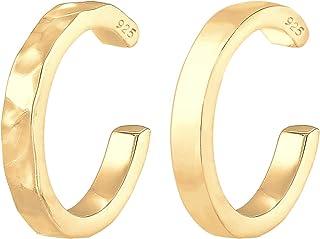 Elli Earrings Women Earcuff Organic Look Minimal Basic Adjustable from 925 Sterling Silver Gold Plated