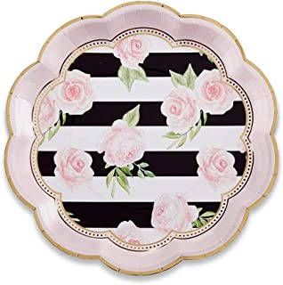 Kate Aspen 28436NA Floral Striped 9 (Set of 8) Paper Plates, 0, gold, black, white, pink, green