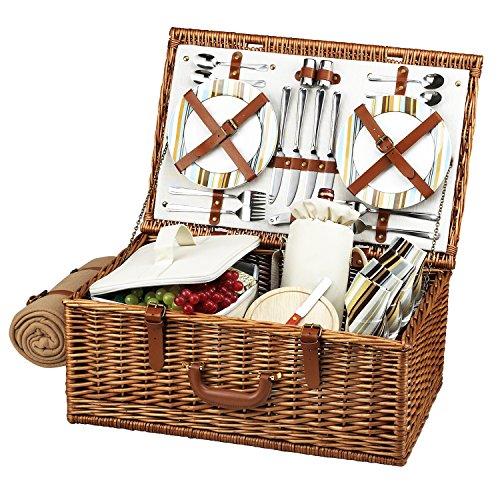 Picnic at Ascot Original Dorset Picknickkorb aus Weide im englischen Stil, mit Service für 4 Personen und Decke, in den USA entworfen, montiert und qualitätsgeprüft