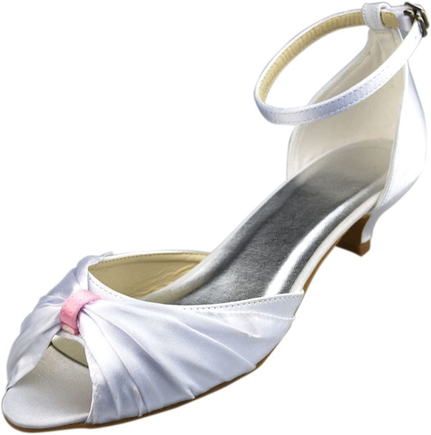 Minishion Womens Low Heel Satin Evening Party Bridal Wedding Strappy shoes Sandals