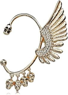 Fashion Punk Skull Angle Wings Crystal Ear Cuff Wrap Left Ear Clip Earrings