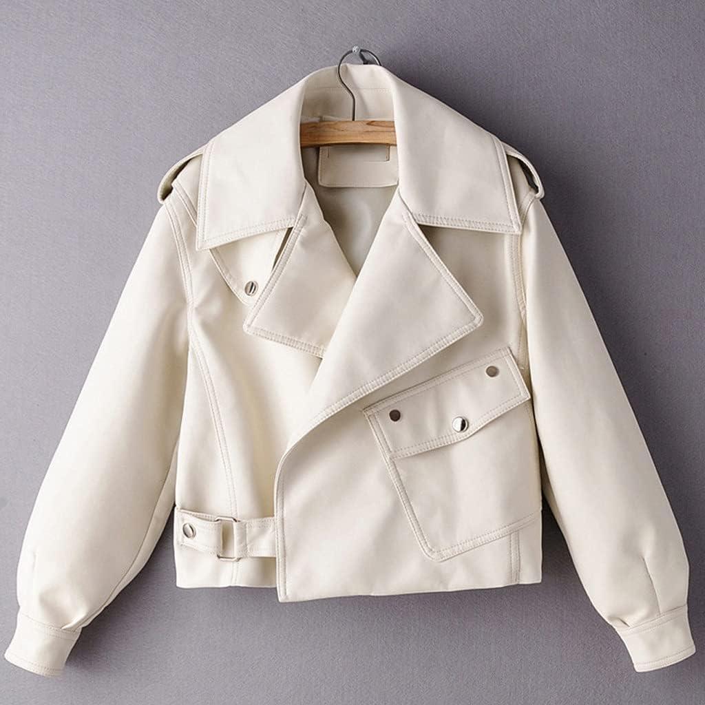 ADKHF Spring Fashion Retro Lapel Long Leather Sleeve Short Wa Free shipping Large discharge sale New PU