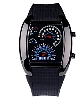 WPOSテつョ Cool RPM Turbo Blue & White Flash Digital LED Sports Watches Gift Car Meter Dial for Men by WPOS