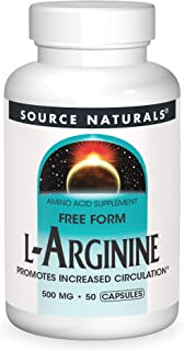 Source Naturals L-Arginine - Free Form and Promotes Increased Circulation - Supports Cardiovascular Health - 50 Capsules