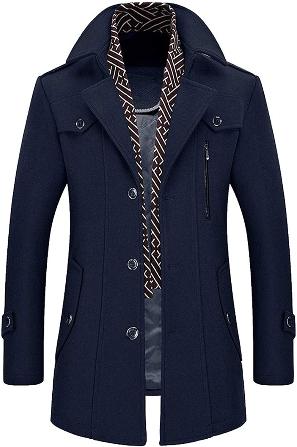 Allywit Men's Wool Trench Coat Winter Business Suits Quality Long Top Coat Jacket