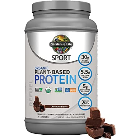Organic Vegan SPORT Protein Powder, Chocolate - Probiotics, BCAAs, 30g Plant Protein for Premium Post Workout Recovery, NSF Certified, Keto, Gluten & Dairy Free, Non GMO, Garden of Life - 19 Servings