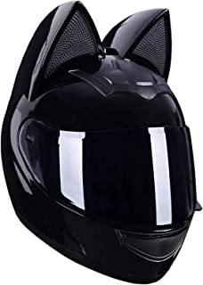 Casco de Viaje de Viaje Fuera de Carretera con Visera Solar HXSD Casco de Motocicleta Personalizado con Cara Completa con Orejas de Gato Fresco Negro,M Adecuado para entusiastas y Adultos
