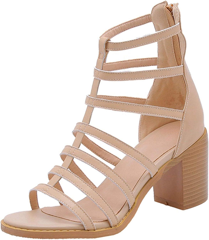 GO-SAMSARA heels Genuine Leather Zip Casual Womens shoes Summer shoes High Heel Sandals Size 34-40 ZYL2540