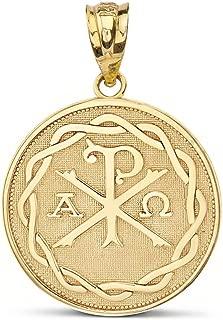 10k Yellow Gold Chi Rho Alpha Omega Symbol Medallion Round Pendant