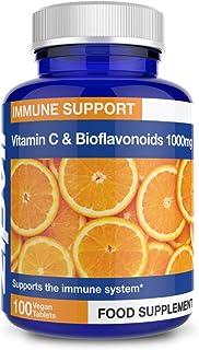 Vitamina C de 1000mg con Bioflavonoides y Extracto de Rosa Mosqueta, 100 Tabletas Veganas. Apoya el sistema inmune. Contribuye a reducir el cansancio y la fatiga