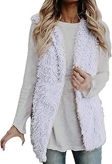 Womens Faux Fur Sherpa Fuzzy Open Front Vest Cardigan Outerwear