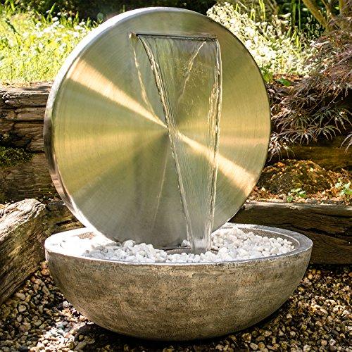 """Köhko® Wasserwand Ø 55 cm mit Einer Halbschale in Natursteinoptik mit LED- Beleuchtung """"Bocca"""" 22011 aus matt gebürsteten Edelstahl mit Becken aus Polyresin"""