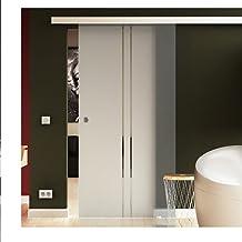 Glazen schuifdeur 77,5 x 205 cm in ESG verticaal gestreept Levidor-Sysem Basic compleet systeem I looprail en schelpgrepe...