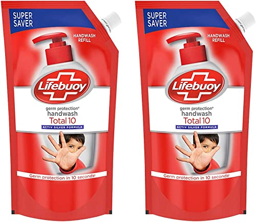 Lifebuoy Total 10 Active Silver Formula-Germ Protection Handwash Refill 750ml (Pack of 2)