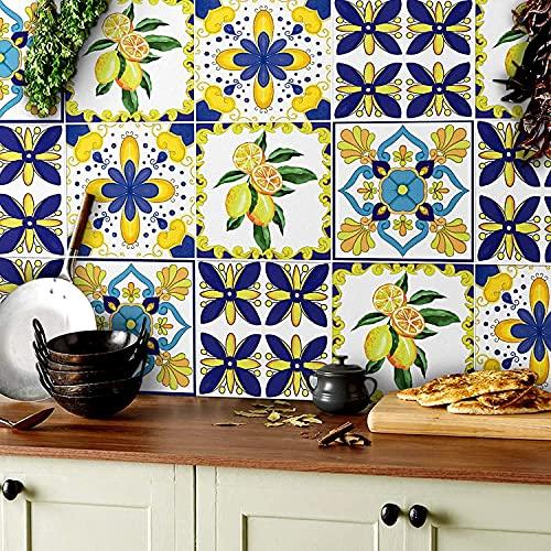HPNIUB 18 adhesivos de pared para cocina, diseño de mosaico multicolor, acuarela, limón y azulejo marroquí, para baño, resistente al agua, para escaleras, lámina autoadhesiva de azulejos, 15 x 15 cm