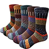 Mens Thick Warm Wool Socks - HZYMS Cozy Vintage Winter Crew Socks Christmas Gifts 5 Pack(Multicolor-1)