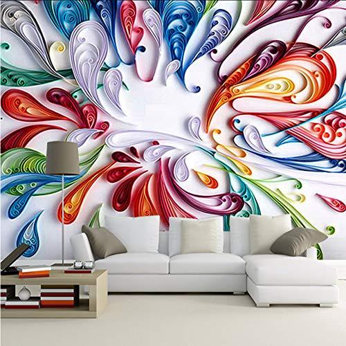 Yologg Personnalisé 3D Mur Papier Peint Pour Mur Moderne Arte Coloré Floral Abstrait Ligne Peinture Papier Peint Pour Le Salon Chambre-400X280Cm