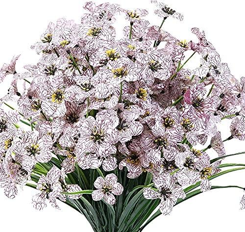 Künstliche Blumen, Blumenkunst, Getrocknete Blumenstrauß, künstliche violette Blumen im Freien UV Beständige Gefälschte Blumen 6Pack Keine Fade Faux Kunststoff Pflanzsträucher Grün Für Innenseite Häng
