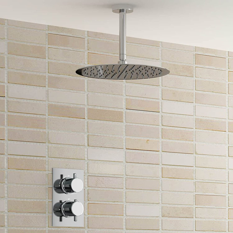 Round 12  Ceiling Mixer Shower Ultra Thin Head Chrome Bathroom Thermostatic Valve Shower Set,Weiß