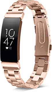 Shangpule Compatible for Fitbit Inspire & Inspire HR Bands, Stainless Steel Metal Replacement Strap Bracelet Wrist Band Accessories for Fitbit Inspire Women Man Large Small