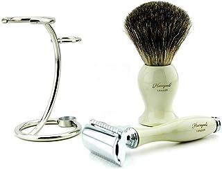 Haryali London Męski zestaw do golenia na mokro, 3-częściowy, super czarny borsuk szczotka do golenia włosów, chrom polero...