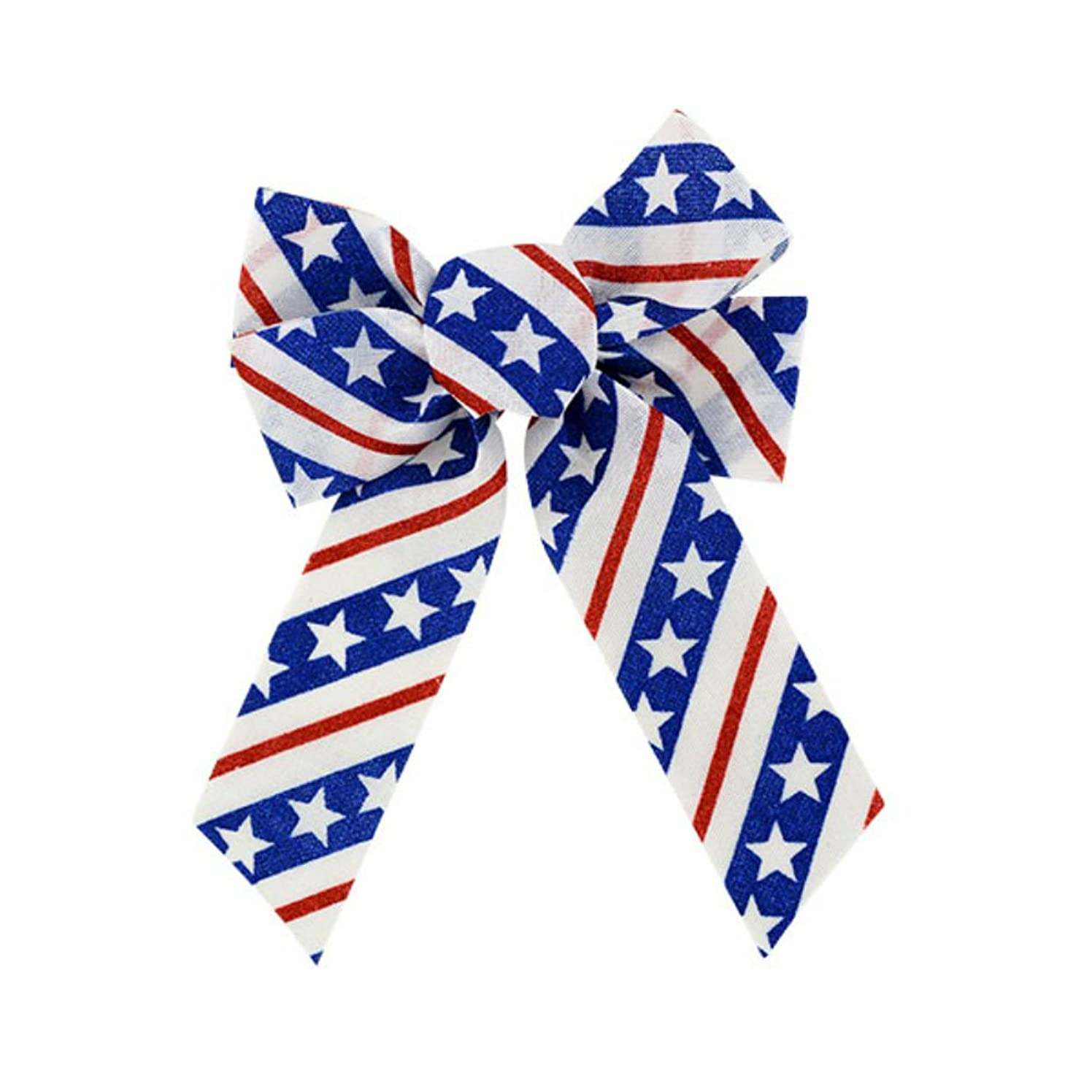 Large Patriotic Burlap Bow with Glitter Designs (White)