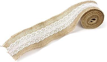 PIXNOR M Fabric Ribbon Hessian Jute Lace Craft Ribbon Beige