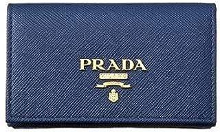 Prada Womens Blue Saffiano Leather Credit Card Holder 1MC122