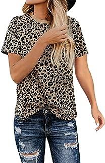 terbklf Women's Casual Cute Shirts Leopard Print Tops Basic Short Sleeve Soft Blouse T Shirt
