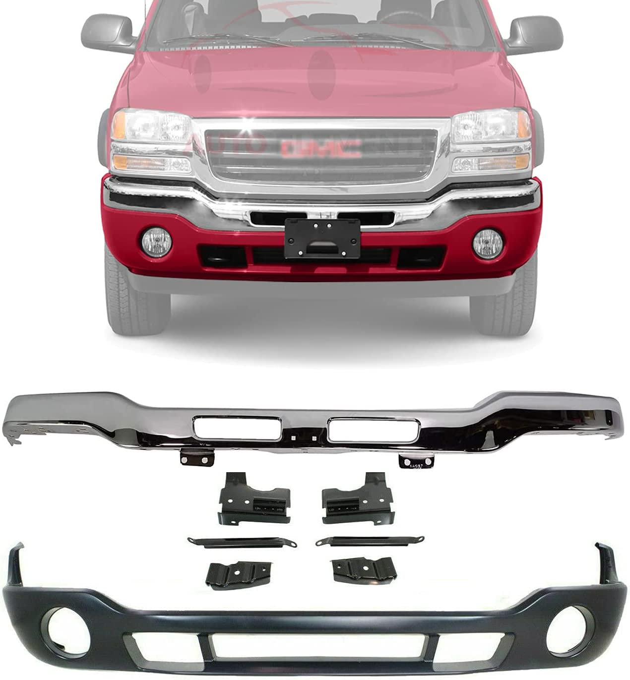 Buy New Front Bumper Chrome Steel With Brackets Lower Valance Primed With Fog Light Holes For 2003 2006 Gmc Sierra 1500 2500hd 3500 12335963 88979837 15098990 Online In Indonesia B07vcyv381