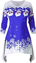 HebeTop Women's Christmas Tops Long Sleeve Blouses Casual Xmas Christmas Floral Print Shirt Pullover