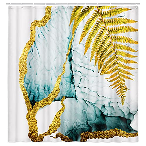 Teal Green Marble Shower Curtain for Bathroom, Modern Luxury Elegant Geometric Gold Palm Leaf Fabric Shower Curtain Set, Turquoise Marble Texture Bathroom Curtain Waterproof Washable, 72x72 Inches