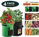 Cobiz 4 Pack Pflanzen Tasche, Kartoffel Pflanzsack Tasche, Dauerhaft Atmungsaktiv Beutel Gemüse...
