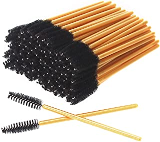 AKStore 100 PCS Disposable Eyelash Brushes Mascara Wands Eye Lash Eyebrow Applicator Cosmetic Makeup Brush Tool Kits (Gold-Black)