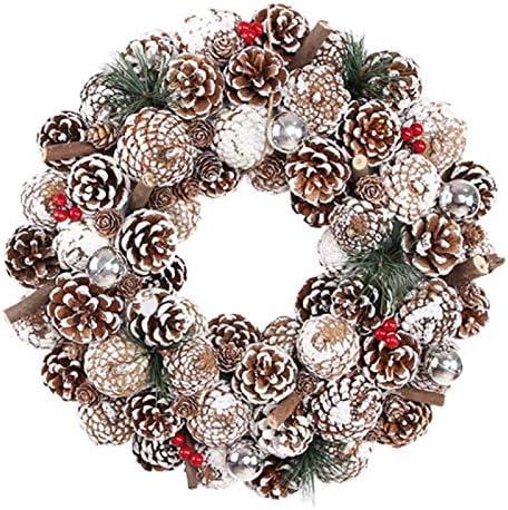 Sonline 35Cm Artificial Christmas Wreath for Front Door Wreath with Pinecone Thanksgiving Indoor Outdoor DecorationSilver