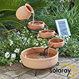 Solaray Real Terracotta Solar 4 Tier Cascade Water Feature