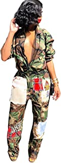 Women's Long Sleeve Zipper Camouflage Patchwork Bodycon Sexy Nightclub Party Jumpsuit Rompers