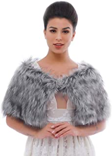 Simsly Bride Wedding Faux Fur Shawls and Wraps Bridal Fur Scarf Stoles for Women and Girls (Grey)