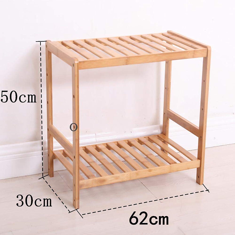PeaceipUS DIY Assembled Bamboo Shelf Floor Multi-Layer Adjustable Height Storage Rack Bathroom Kitchen Storage Tea Rack (Size   62  30  50cm)
