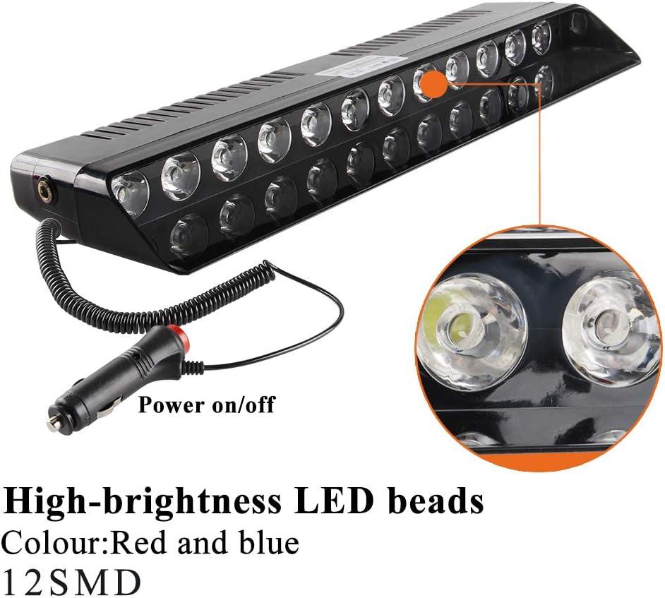 Sidaqi 12-LED Red/&White Traffic Advisor Strobe Lights Bar with 14 Flash Patterns LED Law Enforcement Emergency Hazard Warning Light LED Windshield//Roof//Dashboard Strobe Light