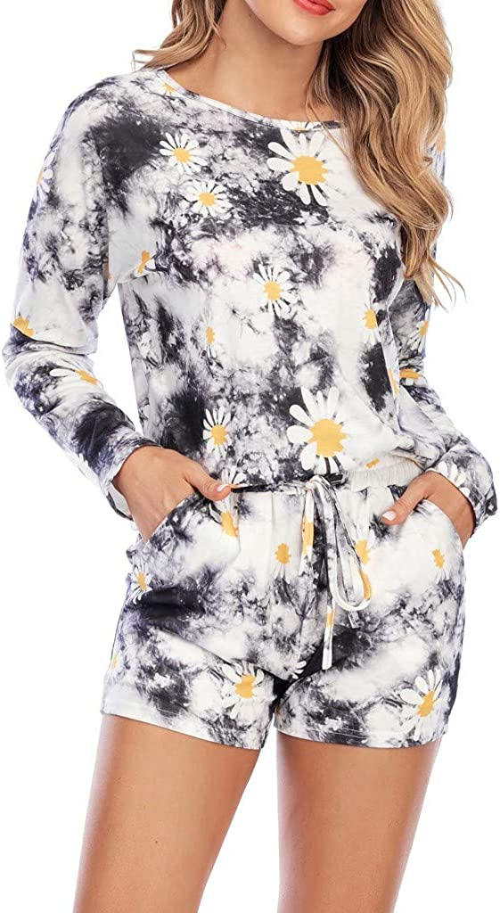 Fashion Casual Women Tracksuit Tie-Dye/Daisy Shorts Sets Leisure Lounge Wear Suit Sleepwear 2020 Clothing