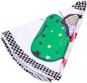 QIAOQ Jupe Arbre de Noël Tissus de Polyester Cartoon Santa Claus Impression Tapis Arbre Blanc pour Les décorations de Noël 35 Pouces Jupe Arbre de Noël
